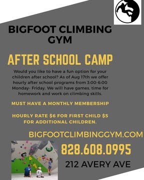 Looking for after-school this year for ages 7-12? Check out Bigfootclimbinggym.com and go to the 'camps' page for more info #afterschoolprogram #afterschool #indoorclimbing #indoorbouldering #funthingsforkids #downtownmorganton