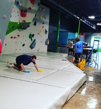 Getting the gym all cleaned up and ready to swing the doors open. Thanks to staff Dustin, Langdon and Aaron for helping out yesterday. #reopennc #indoorclimbing #covidsucks #828isgreat #morgantonnc #downtownmotown #downtownmorganton