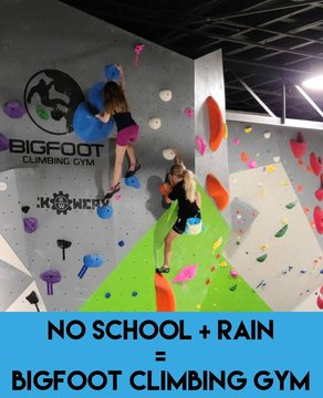 School is OUT tomorrow and the rain is here! Make plans to come climb 😃 We will be open 11-9pm #downtownmorganton #downtownlenoir #downtownmotown #downtownhickory #burkecounty #whattodowhenitrains #veteransday #schoolsout #lakejames