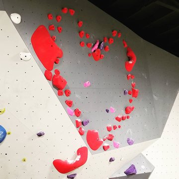 """New set for Valentine's!! This one is tricky to figure out❤  Heres a hint..."""" it takes two to make a thing go right"""" 😀 #datenight #morgantonnc #downtownmorganton #indoorclimbing #valentines"""