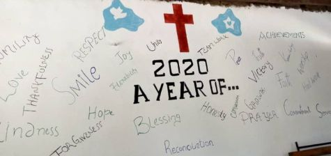Wall with words scatted about describing prays for the year 2020.