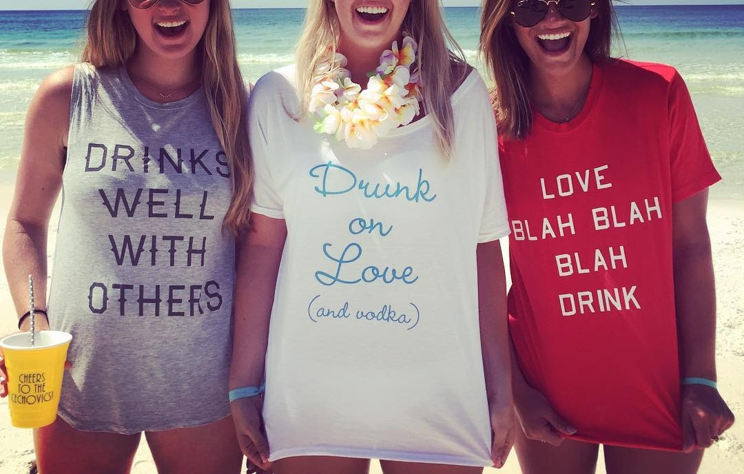 d6cba4ef Head on over to Bridal Party Tees to customize something fun for an event  that you have this summer. Looking for funny drinking tees for a big  bachelorette ...