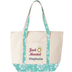 Just Married Beach Tote