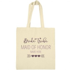 Cute Custom Name Bride Tribe Maid Of Honor Tote Bag