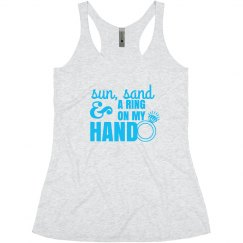 Sun, Sand, and Ring on my Hand Bride Tank Top