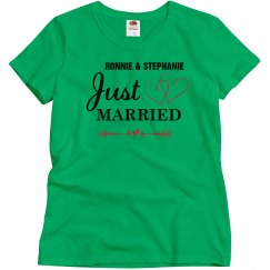 Just Married Shirt with Hearts