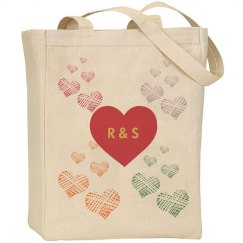 Monogram Hearts Tote Bag