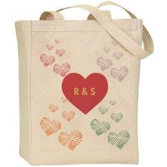 Monogram Hearts Tote Bag