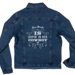Ropin in her Cowboy Denim Jacket