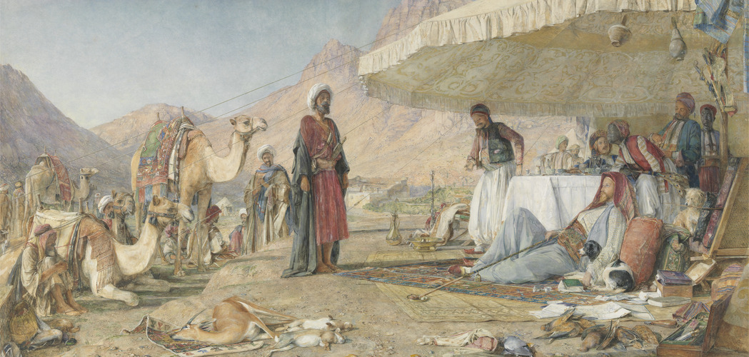 John Frederick Lewis, A Frank Encampment in the Desert of Mount Sinai. 1842 - The Convent of St. Catherine in the Distance, 1856