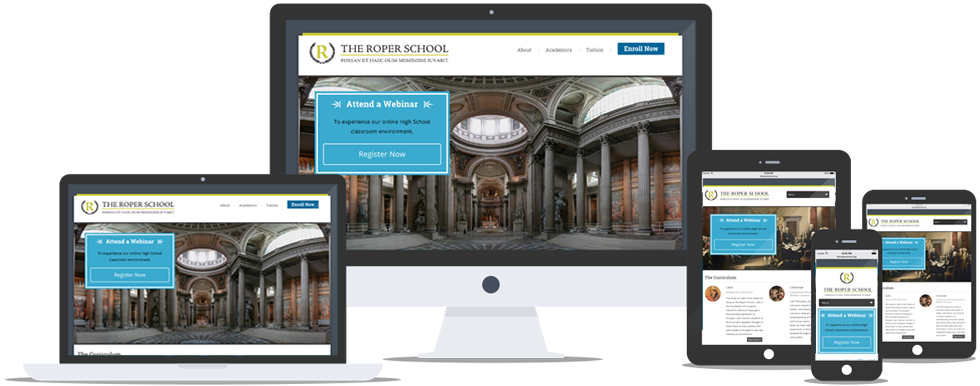 The Roper School Website on Various Devices
