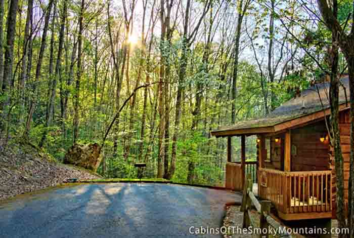 Pigeon forge cabin a private getaway 1 bedroom sleeps 2 for Private secluded cabins in pigeon forge