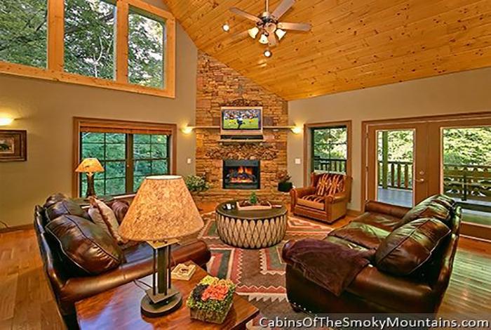 Gatlinburg Cabin Riverside Lodge 5 Bedroom Sleeps 21 Jacuzzi Bunk Beds Home Theater