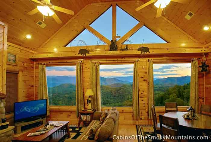 Pigeon forge cabin mountain top view too 2 bedroom for Best mountain view cabins in gatlinburg tn