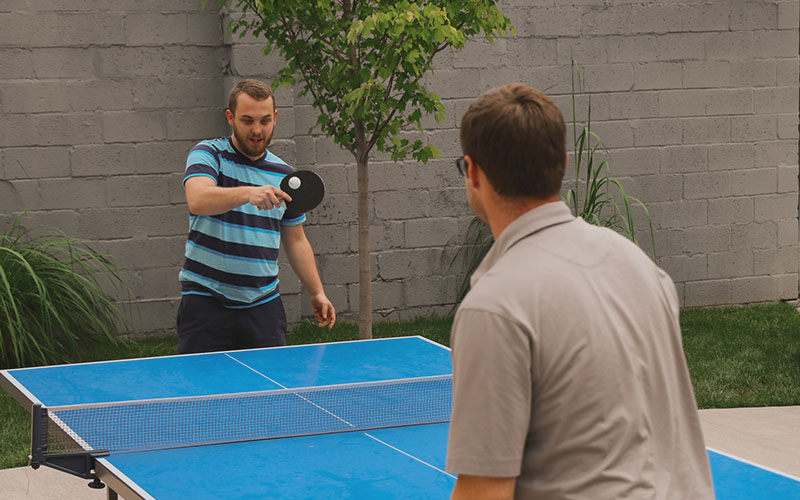 One of two outdoor ping-pong tables in our courtyard.