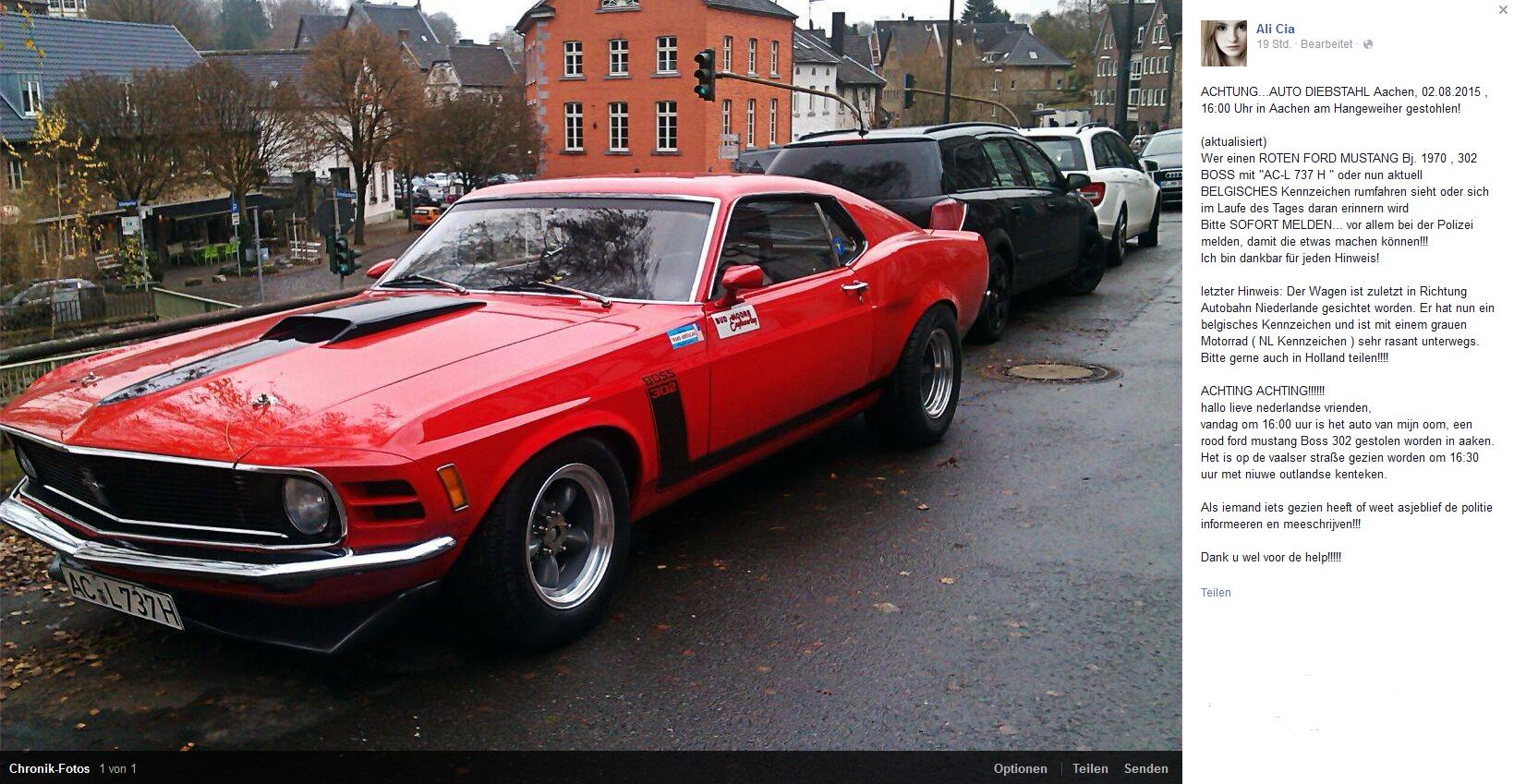 stolen 1970 mustang 302 boss in aachen germany possibly in holland by now. Black Bedroom Furniture Sets. Home Design Ideas