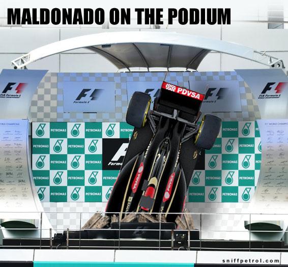 MALDONADO ON THE PODIUM (all Credit To Sniff Petrol.com