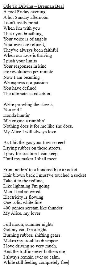 This Is A Poem I Wrote For My English Class That I Think