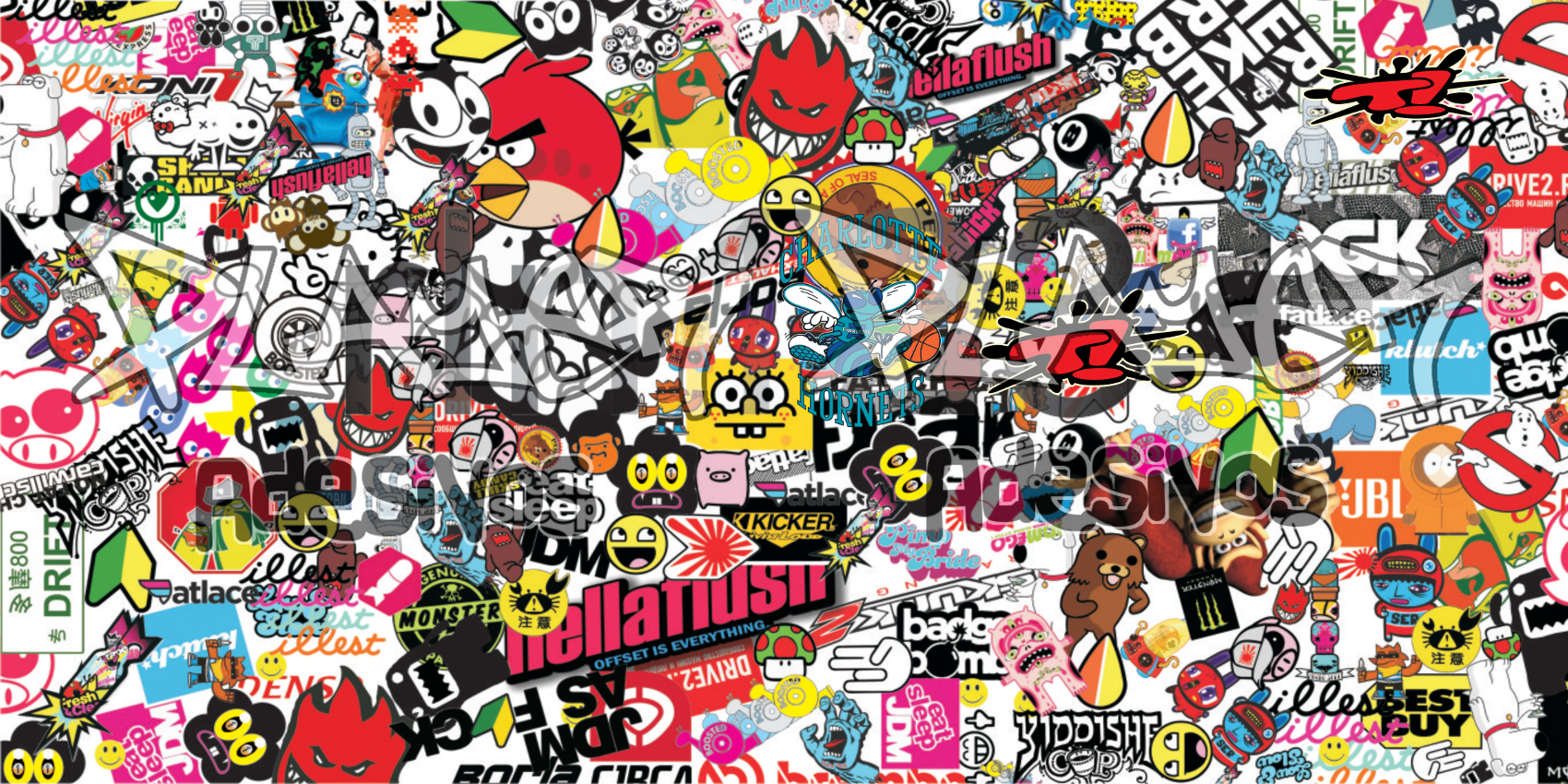 Sticker Bomb Car Wallpaper