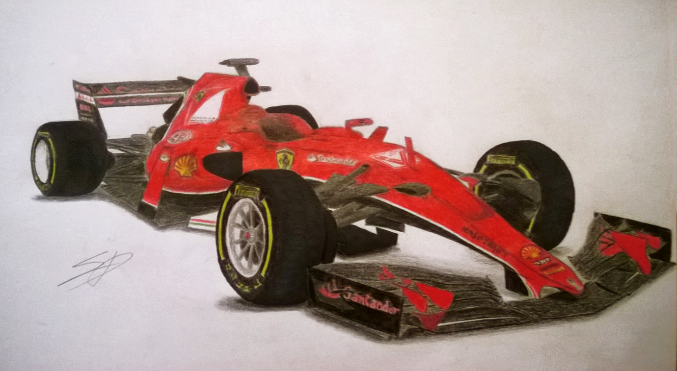 this is a free hand render of the 2017 ferrari f1 car. Black Bedroom Furniture Sets. Home Design Ideas