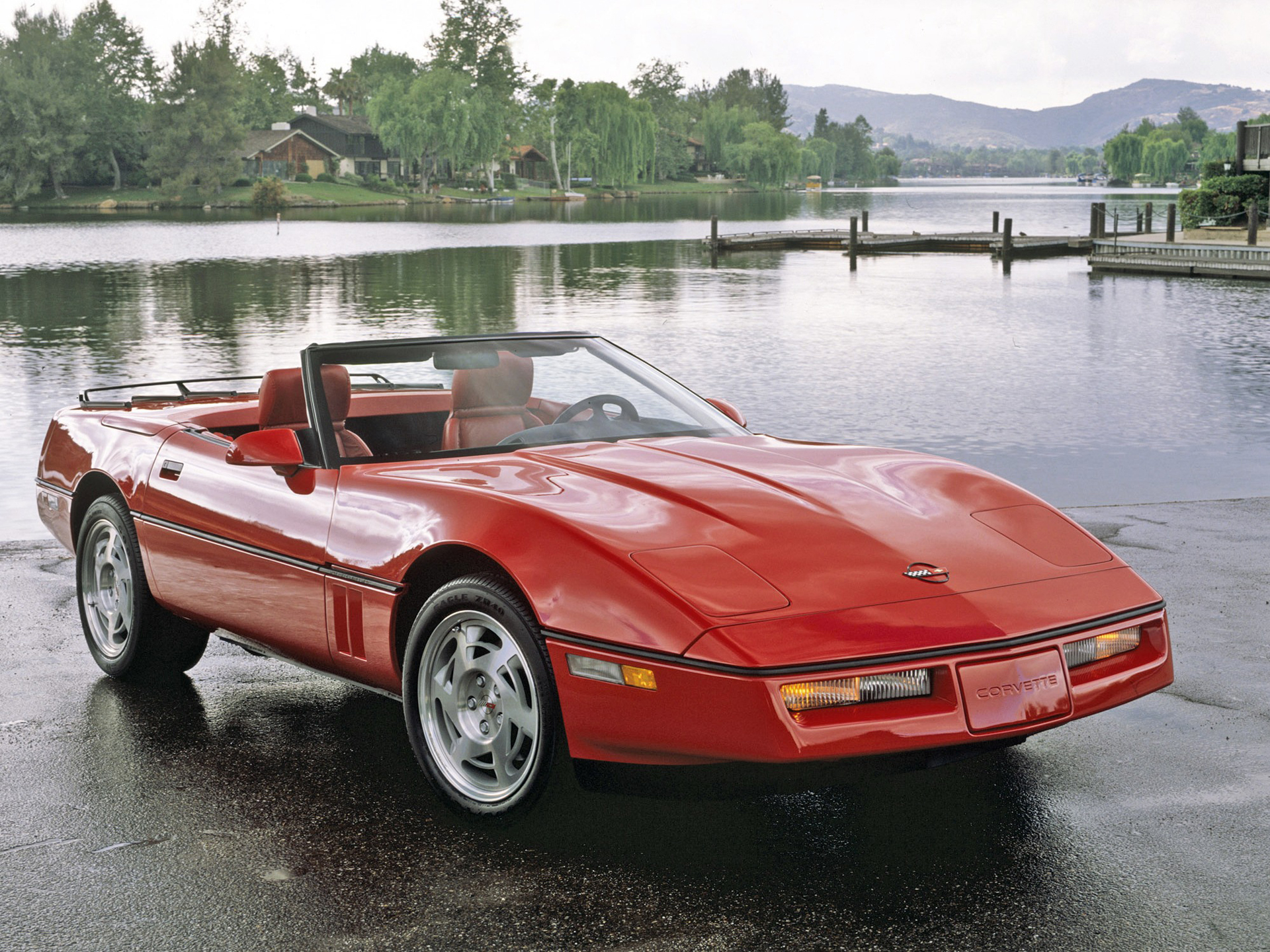 Red Convertible Corvette C4 With Red Leather Interior