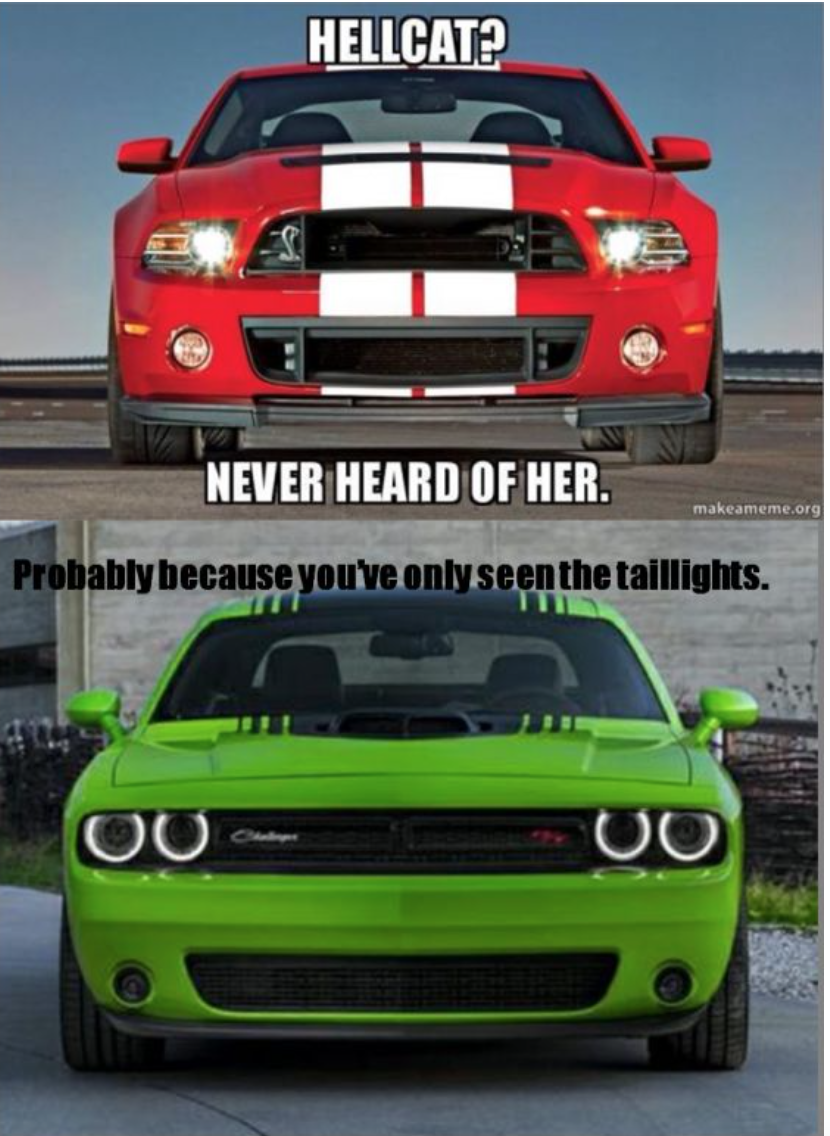 The Funny Thing Is That The Challenger Isnt A Hellcat Lol