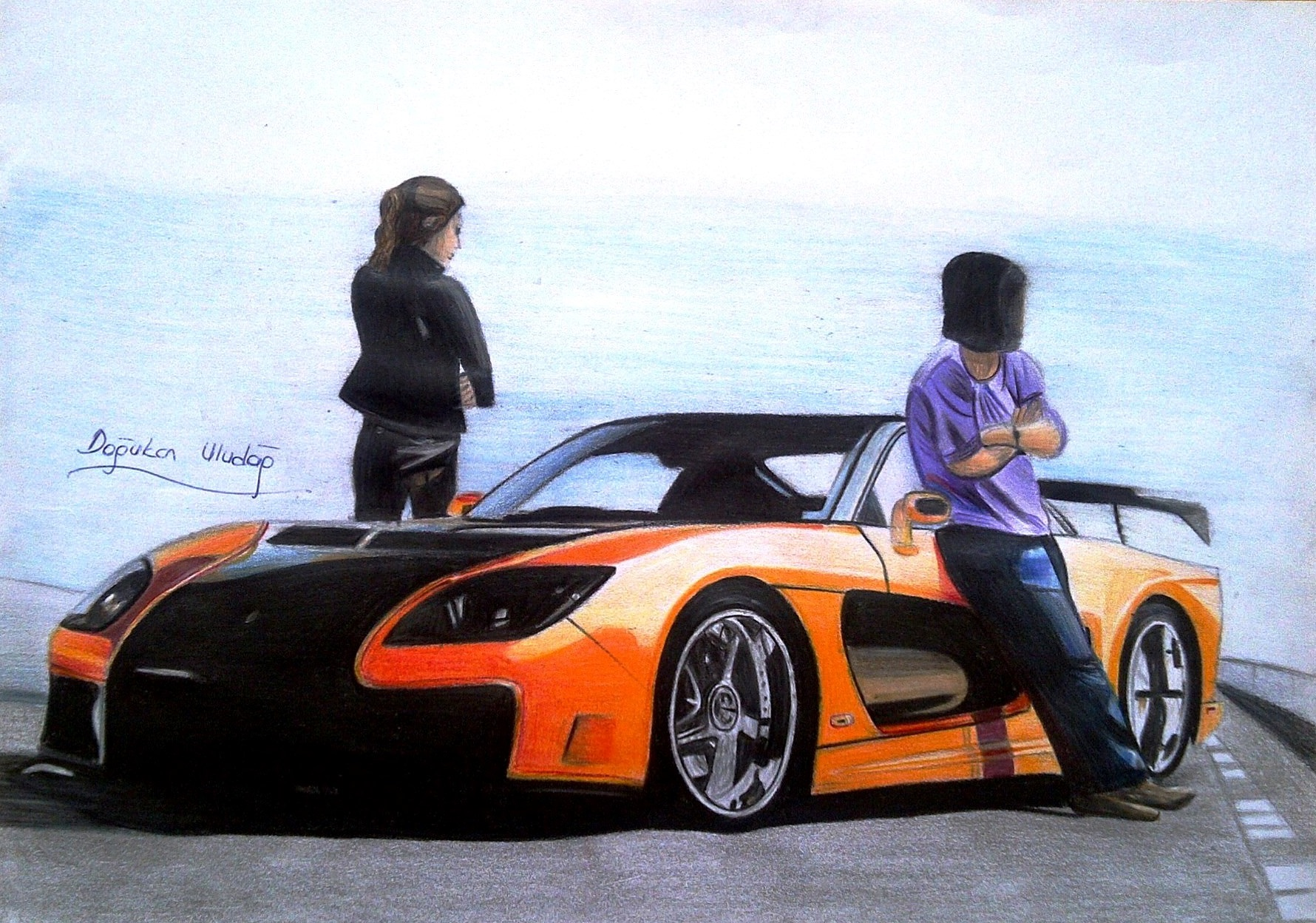 Quot Tokyo Drift Rx7 Veilside With Han Amp Gisele Quot Drawing From