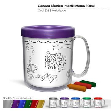 Caneca Térmica Infantil Interno 300ml Metalizado 332