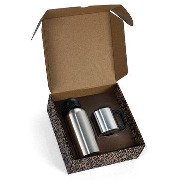Conj. De Squeeze E Caneca Em Aço Inox 600/200 Ml - 2 Pçs 01601