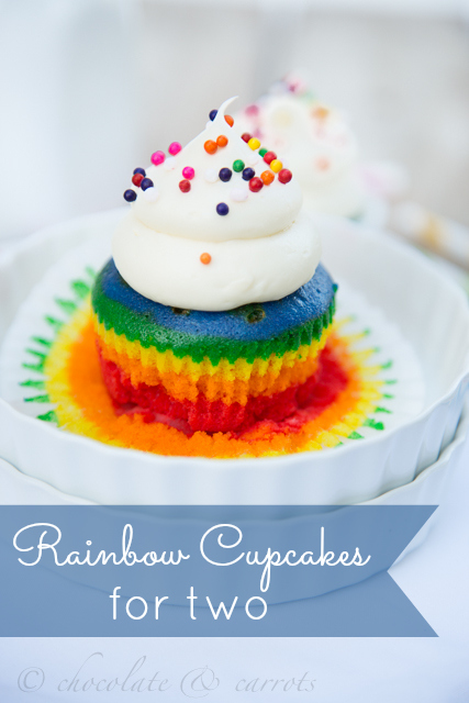 Rainbow Cupcakes for Two | chocolate & carrots