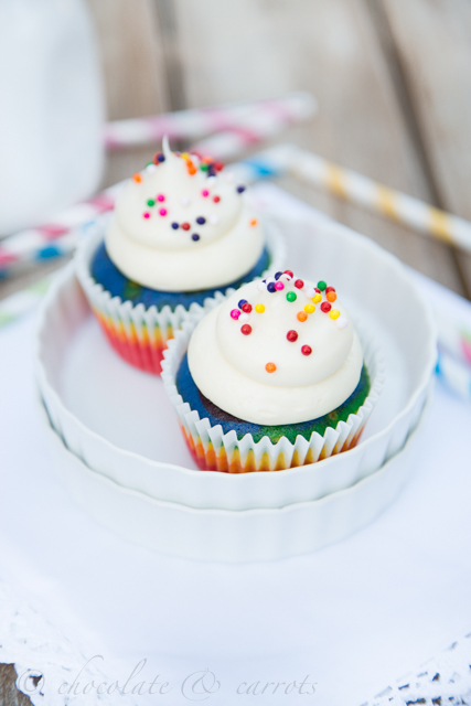 Rainbow Cupcakes for Two