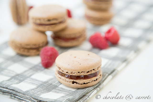 Chocolate Raspberry Macarons-1