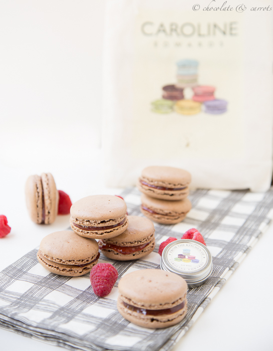 Chocolate Raspberry Macarons-6
