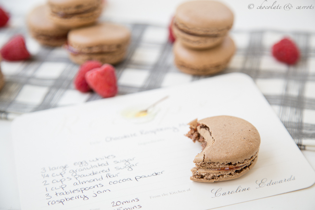 Chocolate Raspberry Macarons-7