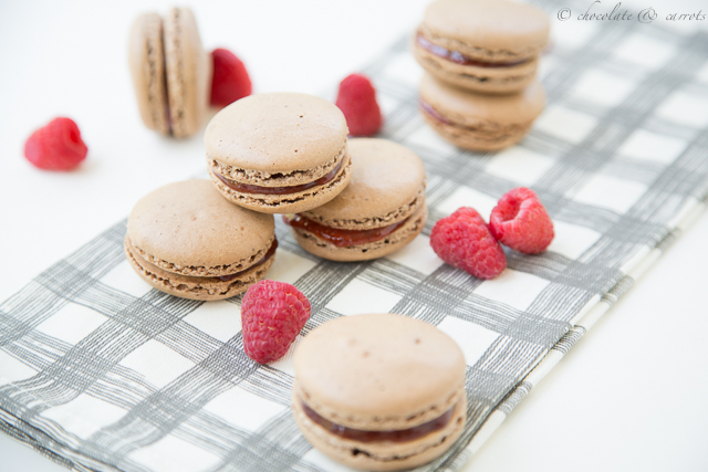 Chocolate Raspberry Macarons-3