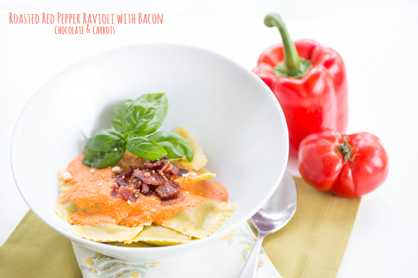 Roasted Red Pepper Ravioli with Bacon | chocolateandcarrots.com