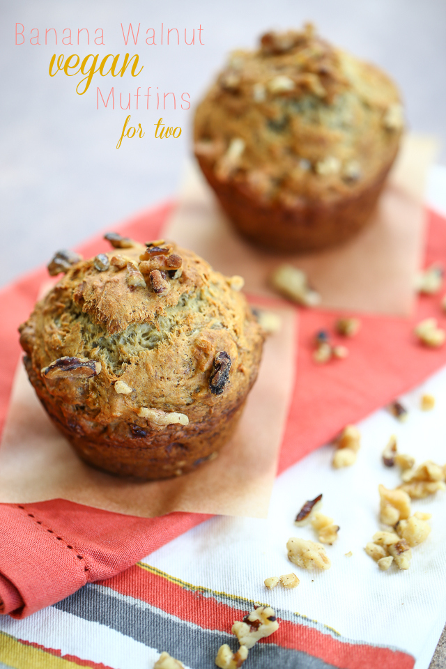 Banana Walnut Vegan Muffins For Two  chocolateandcarrots.com