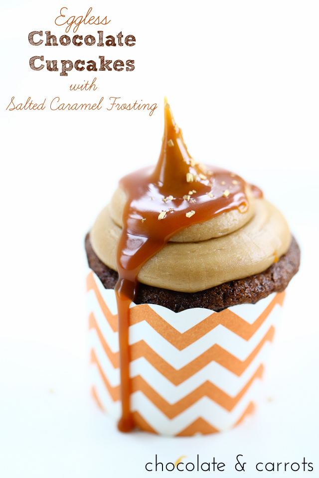 Eggless Chocolate Cupcakes with Salted Caramel Frosting | chocolateandcarrots.com