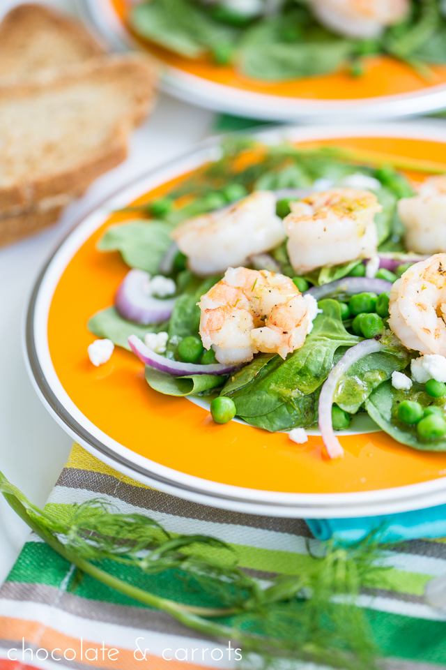 Fresh Green & Shrimp Salad with a Lemon Dill Dressing | chocolateandcarrots.com