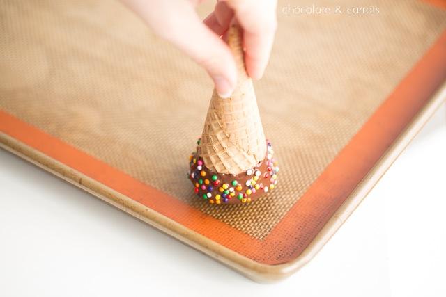Chocolate Filled Ice Cream Cones | chocolateandcarrots.com #dippedcone #diy