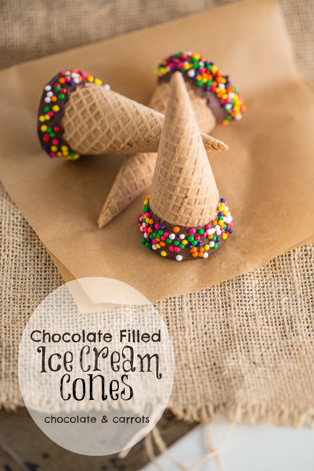 Chocolate Filled Ice Cream Cones | chocolateandcarrots.com #dippedcone #diy