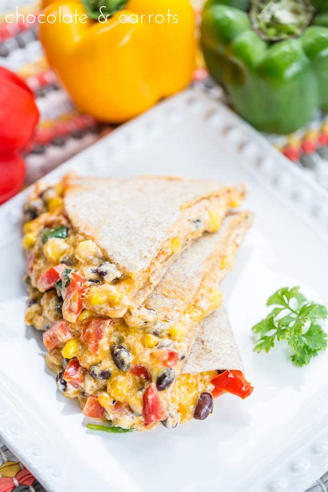 Creamy Southwest Quesadillas | chocolateandcarrots.com