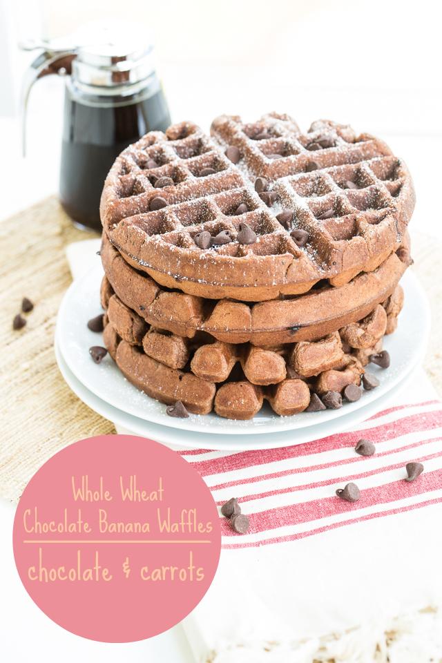Whole Wheat Chocolate Banana Waffles | chocolateandcarrots.com