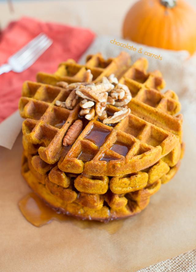 Whole Wheat Pumpkin Waffles | chocolateandcarrots.com