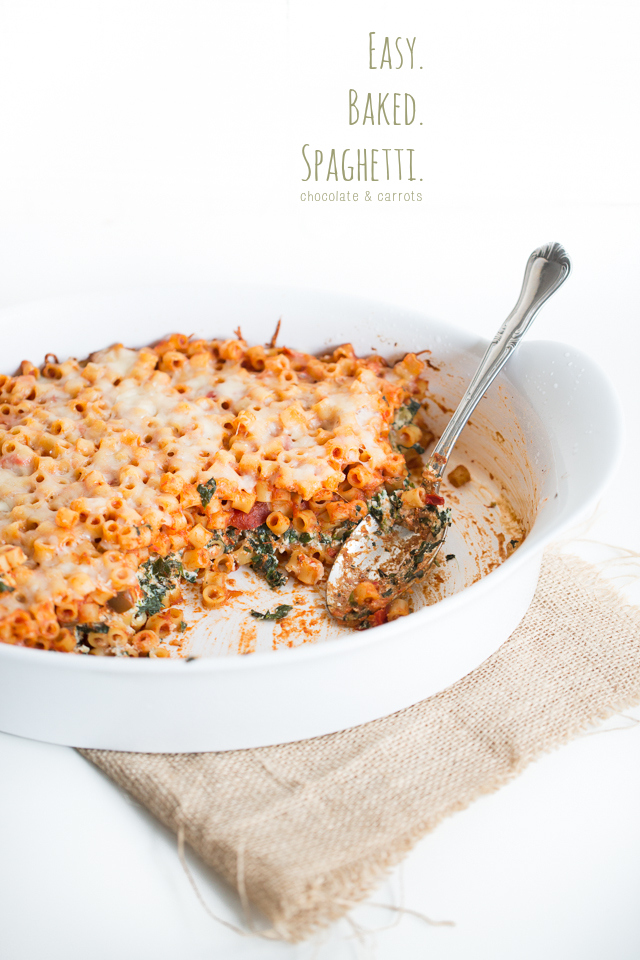 Easy Baked Spaghetti | chocolateandcarrots.com