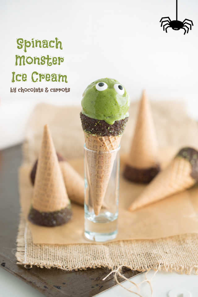 Spinach Ice Cream for Halloween | chocolateandcarrots.com #halloween #healthy #homemade #recipe