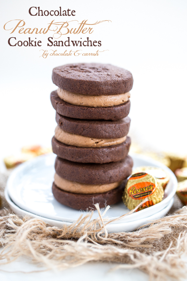 Chocolate Peanut Butter Cookie Sandwiches | chocolateandcarrots.com