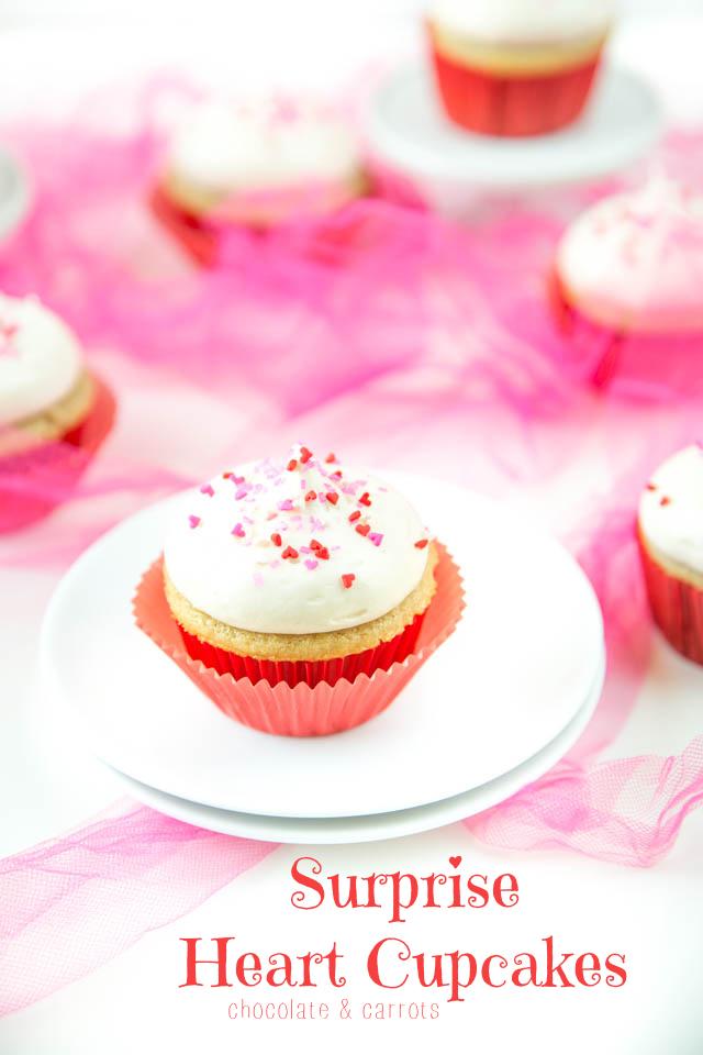 Surprise Heart Cupcakes | chocolateandcarrots.com