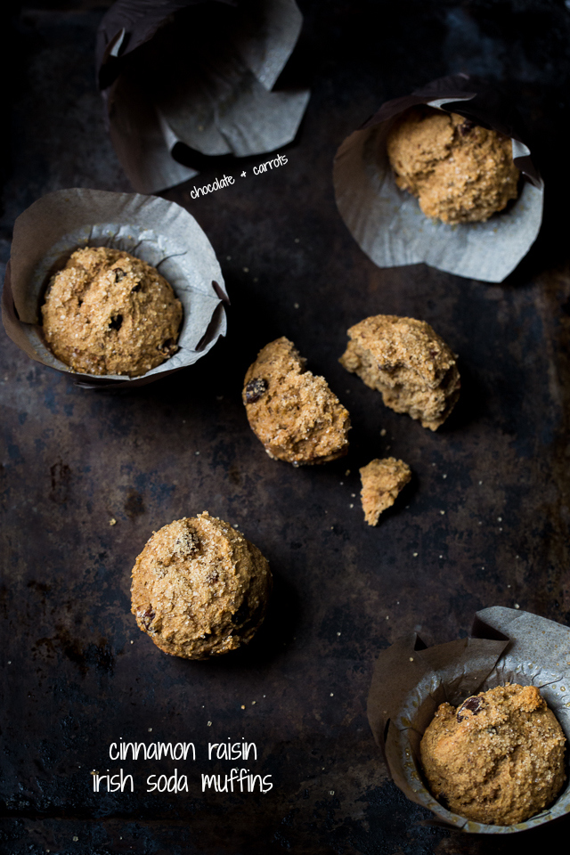 Cinnamon Raisin Irish Soda Muffins | chocolateandcarrots.com #noaddedsugar #wholewheat