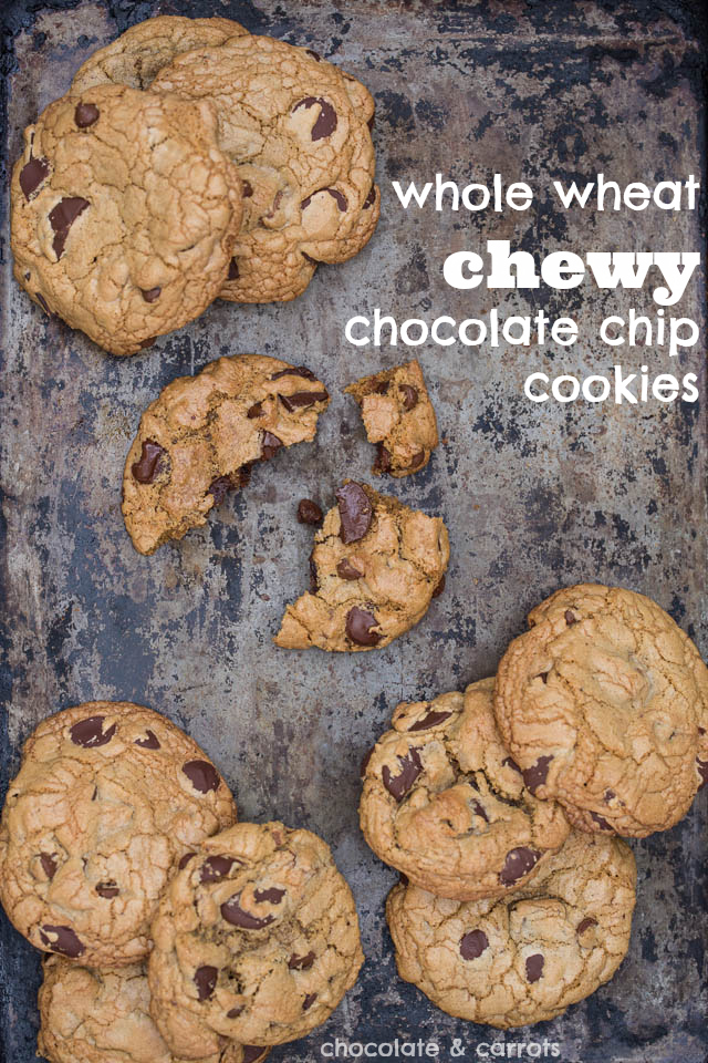 Whole Wheat Chewy Chocolate Chip Cookies | chocolateandcarrots.com